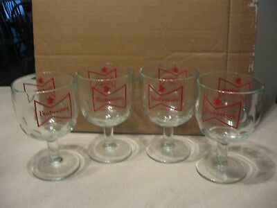 Lot of Four (4) Budweiser Beer  Bowtie/ Goblets / Chalice Style Glasses