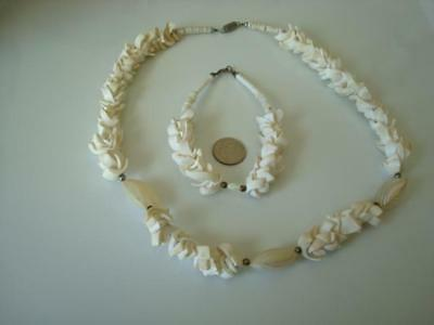 Puka Shell Chips Necklace and Bracelet