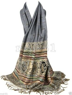 New Women's Fashion Warm 100% Cashmere Paisley Pashmina Shawl Wrap Scarf Scarves