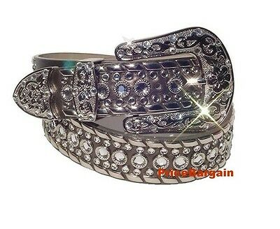 Western Rhinestone Crystal Pewter Genuine Leather Snap On Buckle Belt 1X XL