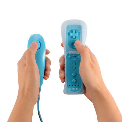 2in1 Remote and Nunchuck Controller w/ Motion Plus for Nintendo Wii Blue AC1023