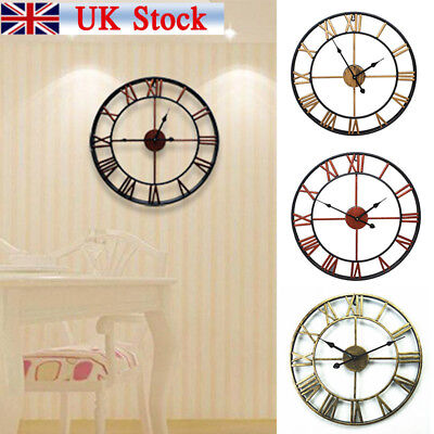 Large Outdoor Garden Wall Clock Big Roman Numerals Giant Open Face Metal UK