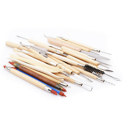 30pcs Wooden Handle Clay Pottery Sculpting Tools Double Ended Wood Handle BS