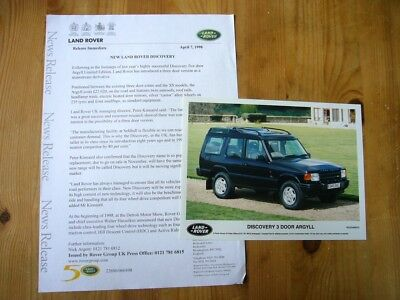 Land Rover Discovery I Argyll 3-dr press release & photo, 1998, excellent