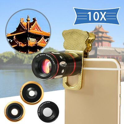 Universal 4in1 Smart Phone Clip On Camera Lens Kit Wide Angle Fish Eye Macro