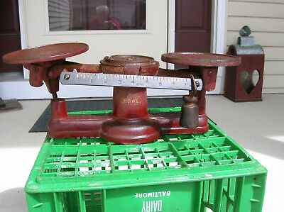 Antique Vintage Cast Iron Balance Scale Howe Scale Co Vermont With 3  Weights