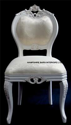 French Chateau Style Ornate Chair Dining Desk Bedroom Antique White Boudoir Shop