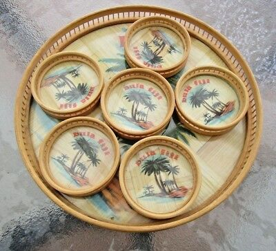 Vintage1970s Cane Tray and 6 Coasters - Souvenir Fiji - Glass Intact