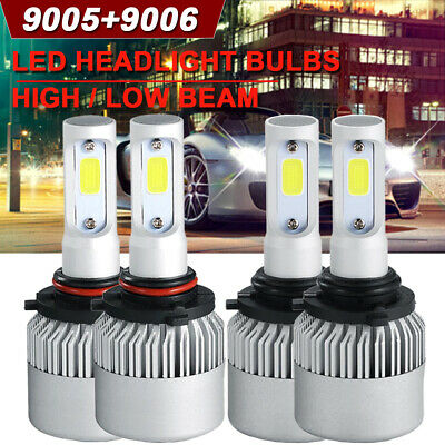 4x CREE 9005 9006 LED 3000W 450000LM Headlights Combo Kits High + Low Beam 6000K