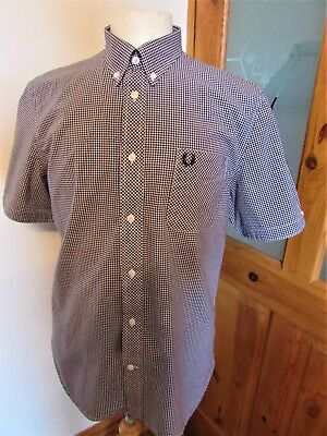 Men's Fred Perry Black & White Check Shirt Two Tone Large XL Mod Scooter Casuals