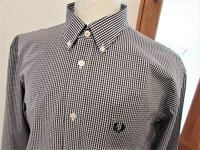 Fred Perry Gingham Check Two Tone Shirt Casuals Mod Scooter Skin Medium M