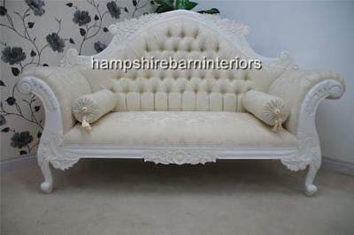 Ornate French  White Louis Cuddler  Ivory Double Ended Medium Chaise Small Sofa