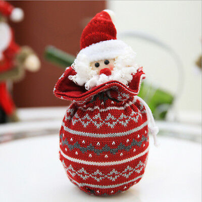 Portable Christmas Santa Claus Candy Gift Bag Pouch Wrapping Party Decor LG