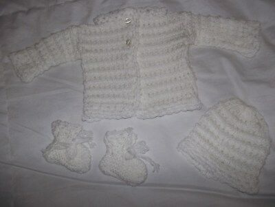 Baby Hand Knitted Matinee Set Coat, Hat & Bootees. Newborn
