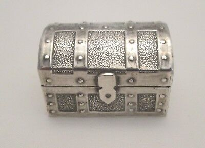 A 20th Century Solid Silver Novelty Pill Box - Treasure Chest - Import Marks