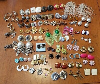 Huge Lot Of 50 Pair Clip On Screw Back Earrings Vtg To Modern Costume Jewelry #1