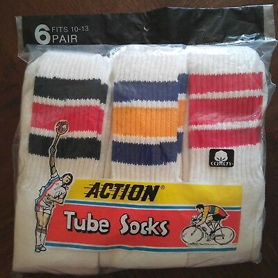 NIP Vintage Action Tube Socks 6 Pair Athletic Knee Highs Unisex Size 10-13 NOS