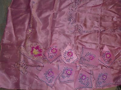 Vintage  Embroidered Asian Chinese Japanese Oriental Tablecloth 8 Napkins pink