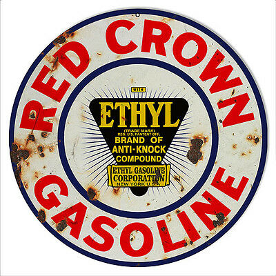Reproduction Red Crown Ethyl Gasoline Motor Oil Sign 14 Round