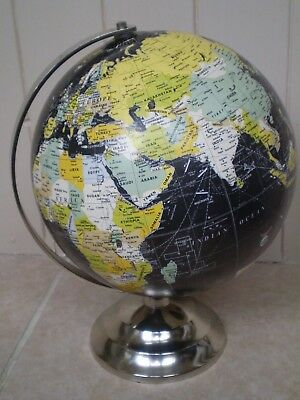 Stunning Vintage Style Black Indian Government Desk Globe