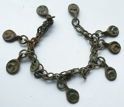 Very rare - Genuine Viking bronze chain with lunar amulets