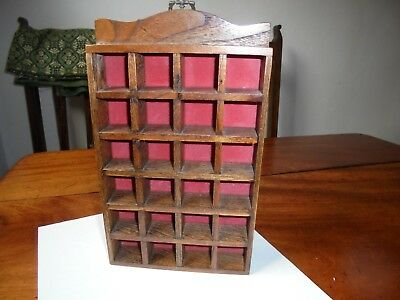 Thimble display rack case wooden holds 24 thimbles