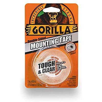 """New Gorilla 6065001 Tough & Clear Mounting Tape, Double-Sided, 1"""" X 60"""", Clear"""