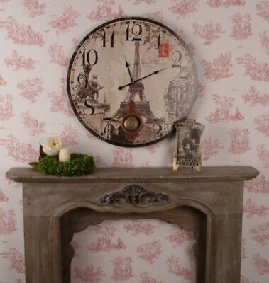 Giant wall clock kitchen clock Paris Eiffel tower vintage style with pendulum