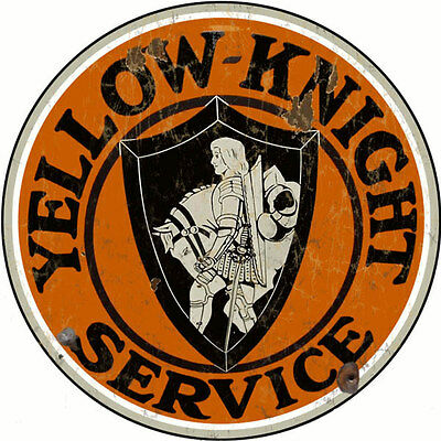 Reproduction Yellow Knight Service Motor Oil And Gas Sign