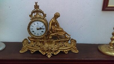 Italian Made French Style Gilded Solid Brass 8 Day Mantle Clock With Strike