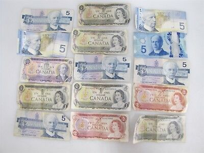 Lot Of 15 Bank Of Canada Paper Dollar Notes World Currency