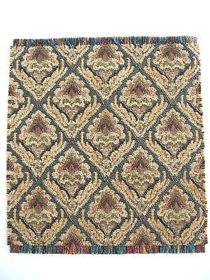 dollhouse doll house miniature FANCY WOVEN RUG CARPET GREEN GOLD 6 3/4 X 7 1/2
