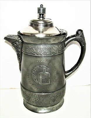 EARLY Large Silver Plate Pitcher Harter's Wild Cherry Bitters For Medicinal Use