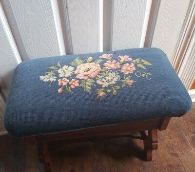 Antique bule needlepoint bench Victorian wood  Vintage vanity seat with storage