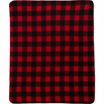 """Northpoint Fleece Throw Blanket 50"""" X 60"""" NEW Buffalo Check Red / Black Plaid +"""