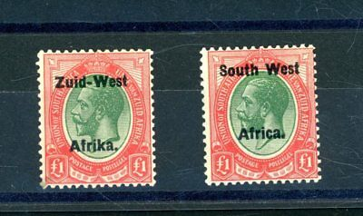 South West Africa  1923  2 x £1 Values  L.H.M.    (S994)