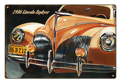 Reproduction from Original Art by Bob Miller 1936 Lincoln Zephyer Front End Sign