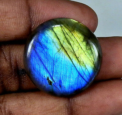 "Natural ""Deluxe"" Multi labradorite Cabochon Gemstone Round 37.25cts.;#22561"