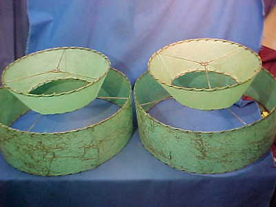 Matched SET 1950s MID CENTURY MODERN Turquoise + Gold FIBERGLASS Lamp SHADES 18""