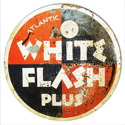 Reproduction White Flash Plus Motor Oil Sign 14 Round