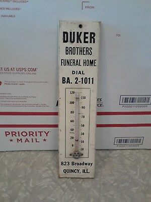 Vintage Wood Advertising Thermometer, Duker Brothers Funeral Home Quincy Ill