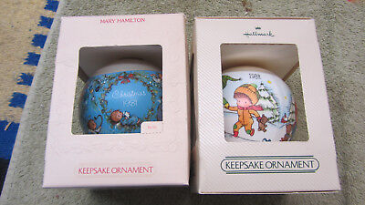 Vintage Lot of 2 Hallmark Glass Ornaments 1981 1982