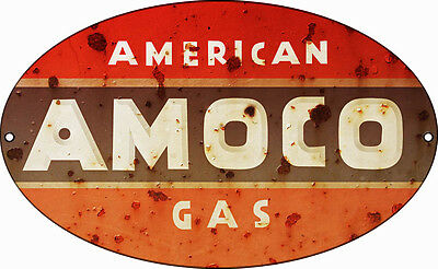 Reproduction AMOCO Gas Sign 11X18 Oval