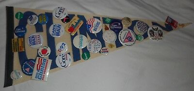 30 yrs of mixed  Democratic National Convention Buttons, Pins on Clinton Pendant