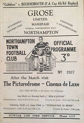 Northampton Town v Bournemouth  F A Cup 4th round replay 1949/50