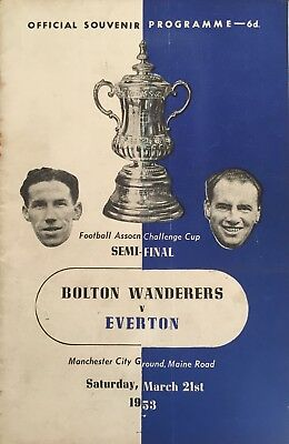 Bolton Wanderers v Everton  F A Cup Semi Final at Maine Road  1953