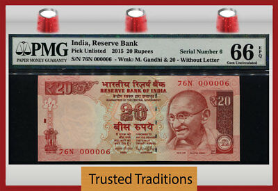 Tt Pk Unl 2015 India 20 Rupees Gandhi Exotic S/n #000006 Pmg 66 Epq Gem 4 Of 8!