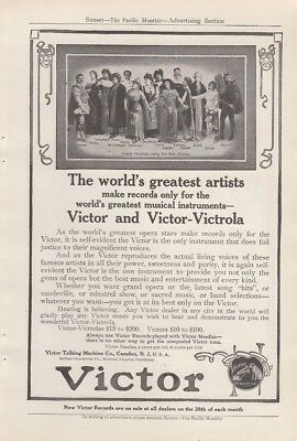 1912 Victor Talking Machine Co Camden NJ Ad: World's Greatest Opera Stars