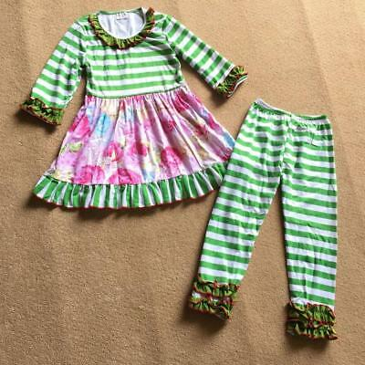 W-242 Girl's 2PC Green and Grey Striped Outfit Sizes 3T and 4T (Free Shipping)