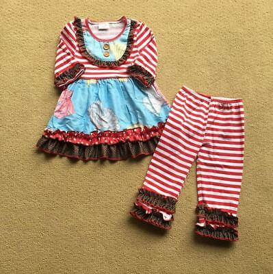 W-245 Girl's 2PC Red and White Striped Outfit Sizes 3T and 4T (Free Shipping)